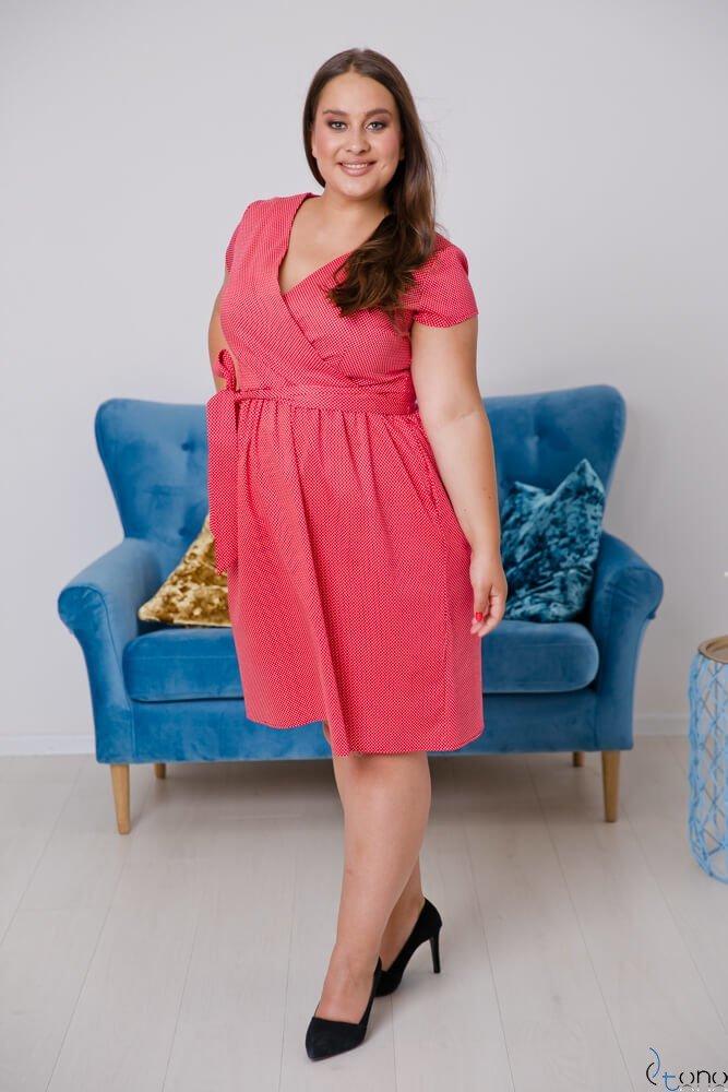 Red-White Dress MACARIS Plus Size