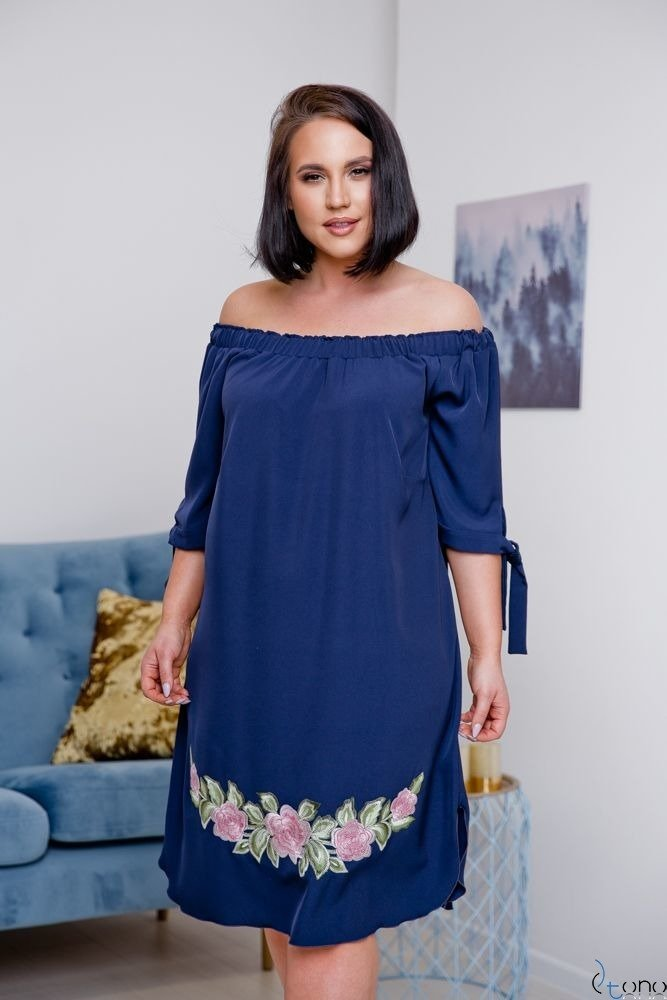 Navy Dress ESMARA Plus Size Embroidered