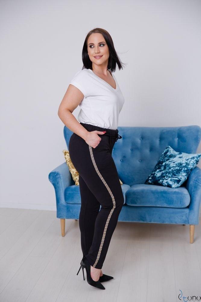 Black-gold Trousers JERSEY Stripe Plus Size