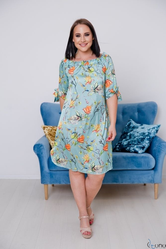 Turquoise-orange Dress VALENCIA Plus Size