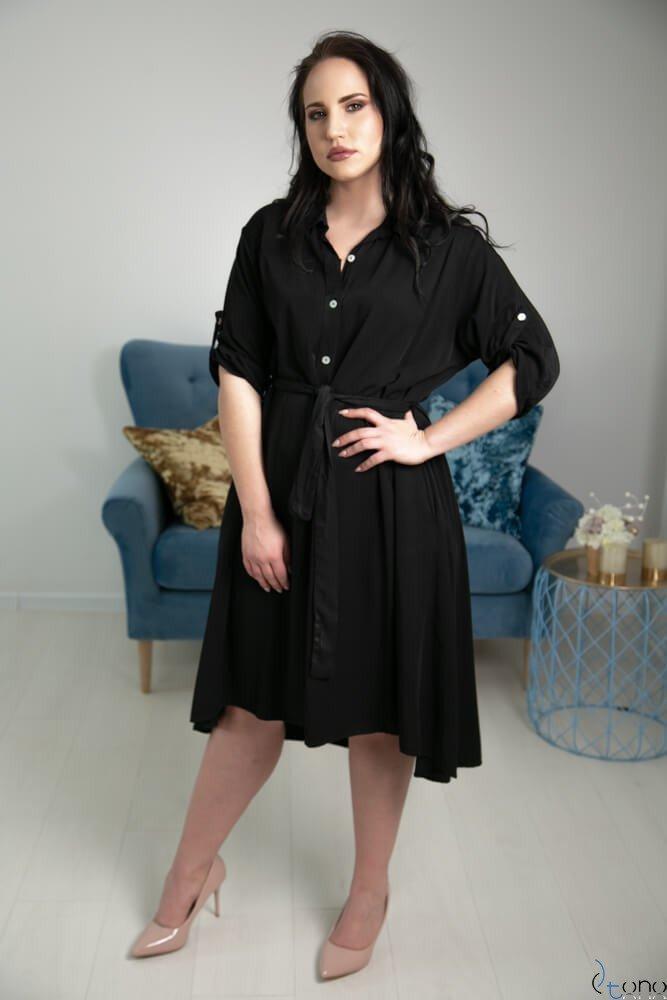 6325d6ee9d Czarna Sukienka RAMIRA Plus Size Szmizjerka ✅ darmowy odbiór w ...