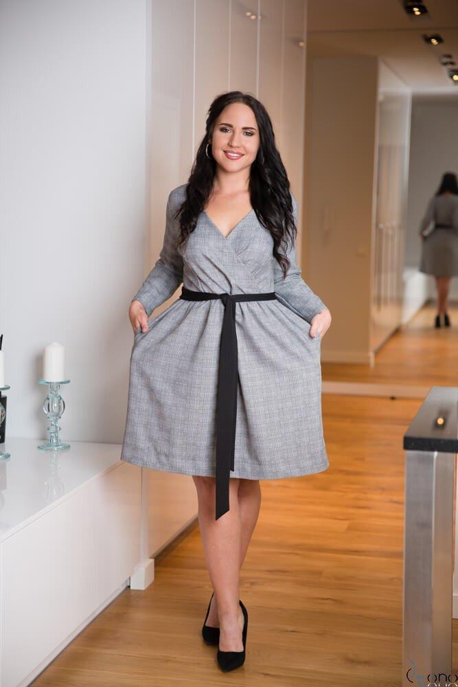 898ac1f04b Szara Sukienka MAKAN Kopertowa Plus Size Kratka ✅ darmowy odbiór w ...