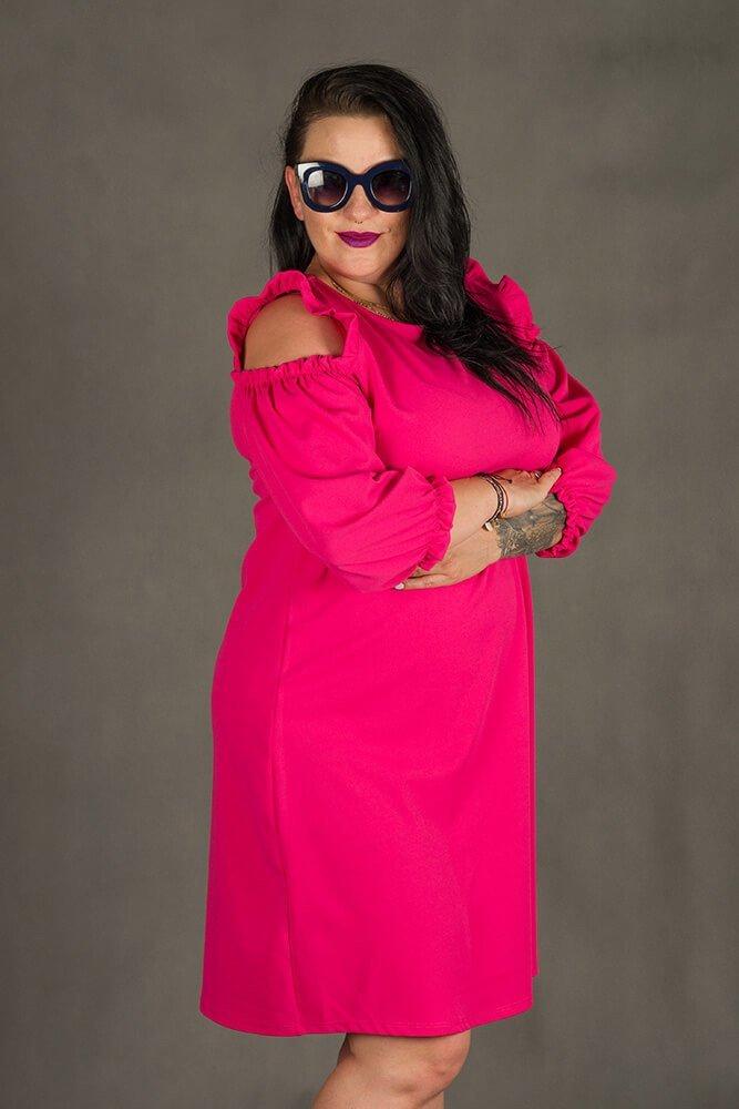 07901dea Amarantowa Sukienka POLLY Trapezowa Plus Size
