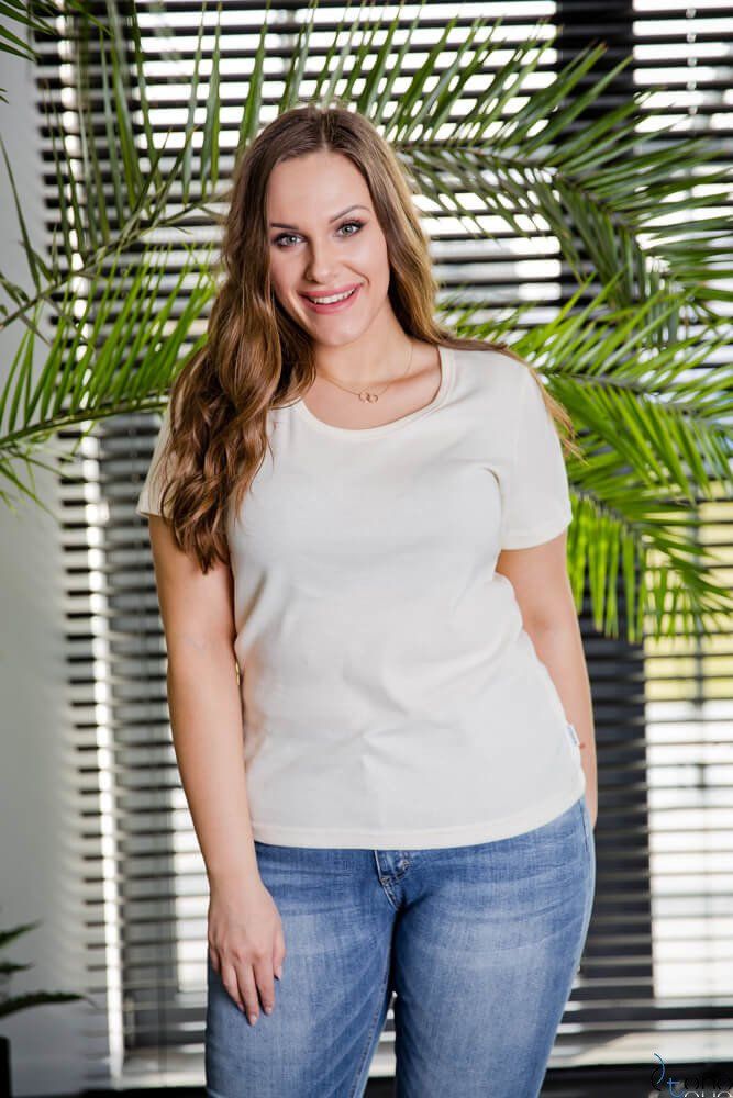 a61ac8de92f48b Bluzka damska Ecru DETRRA T-Shirt Plus Size Kliknij, aby powiększyć ...
