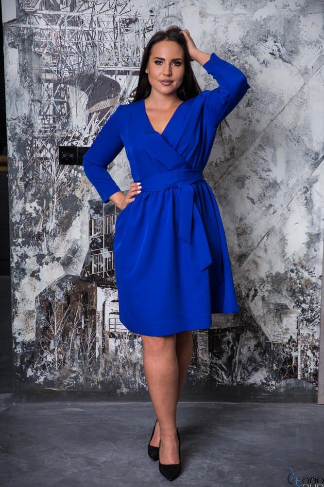 f7a69852a8 Chabrowa Sukienka MAKAN Kopertowa Plus Size ✅ darmowy odbiór w ...