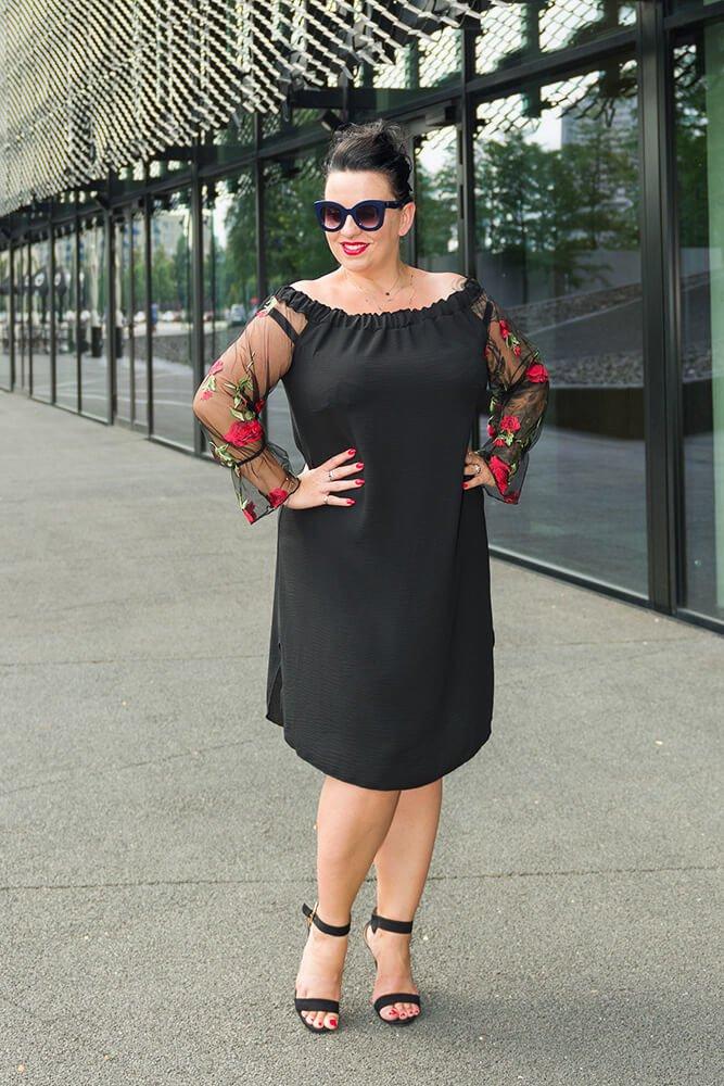 d1a36419c Czarna Sukienka MADAME Plus Size ✅ darmowy odbiór w punckie i zwrot ...