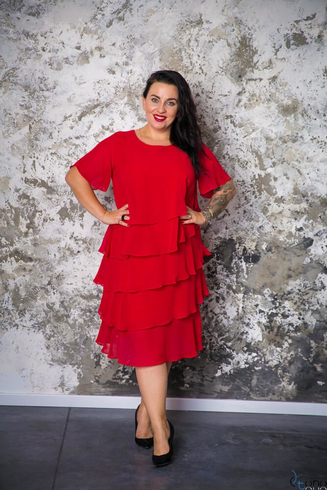 34def3d727 Czerwona Sukienka ORINA Plus Size ✅ darmowy odbiór w punckie i ...