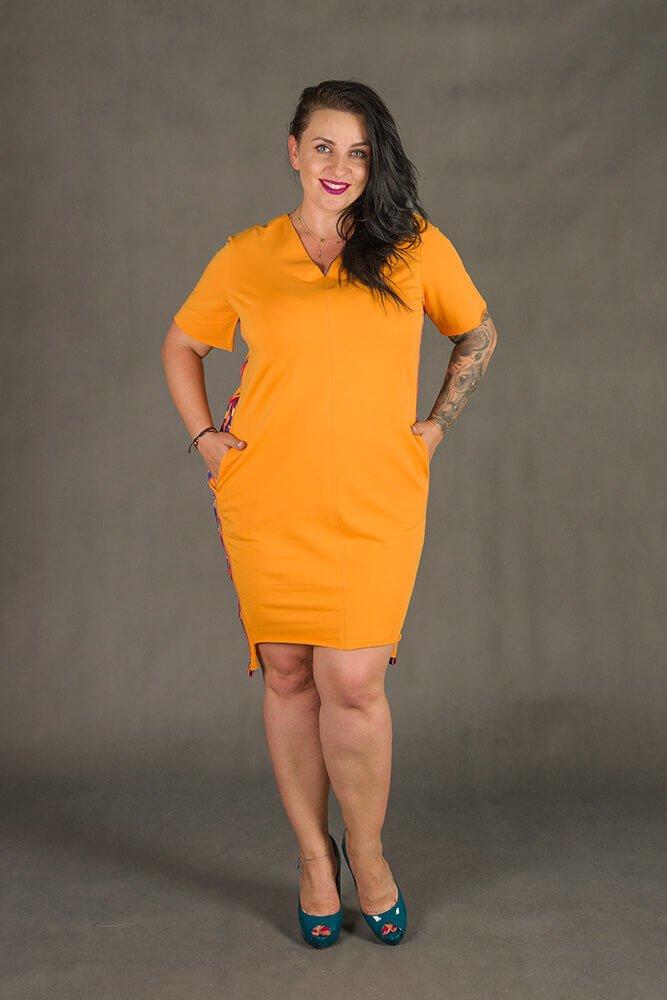 407a51e5bd Pomarańczowa Sukienka TAPE Plus Size ✅ darmowy odbiór w punckie i ...
