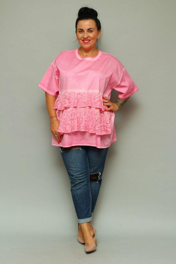 a6b07d56 Różowa Bluzka BARDOT Falbana Plus Size