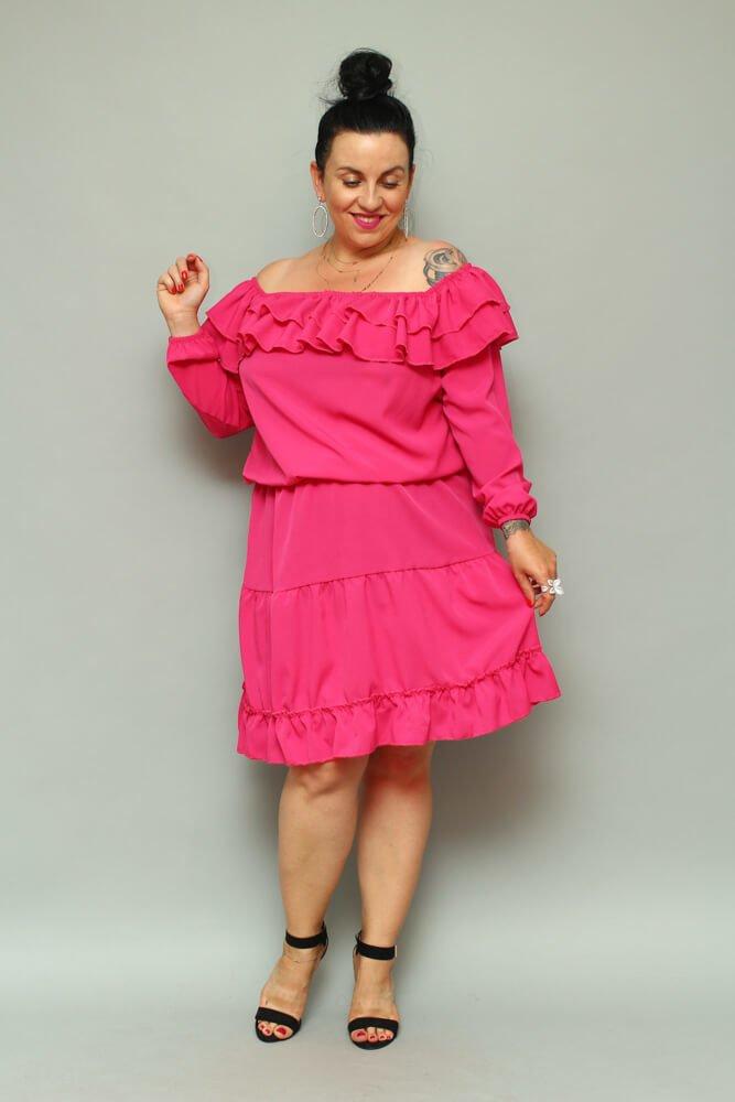 2f9de5c456 Sukienka LAKKI Hiszpanka Plus Size Fuksja ✅ darmowy odbiór w ...