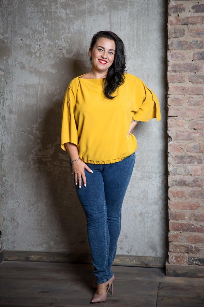b5af6f918b Żółta Bluzka PERSY Plus Size Elegancka ✅ darmowy odbiór w punckie i ...