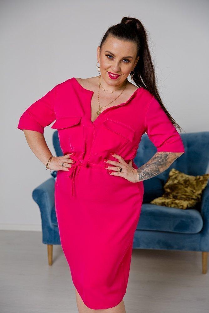 Amarantowa Sukienka CORTENA Plus Size