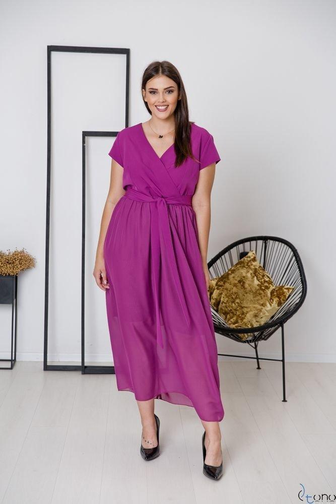 Amarantowa Sukienka MALIKKA Plus Size