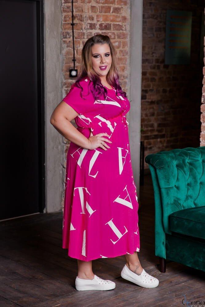 Amarantowa Sukienka MALOS Plus Size