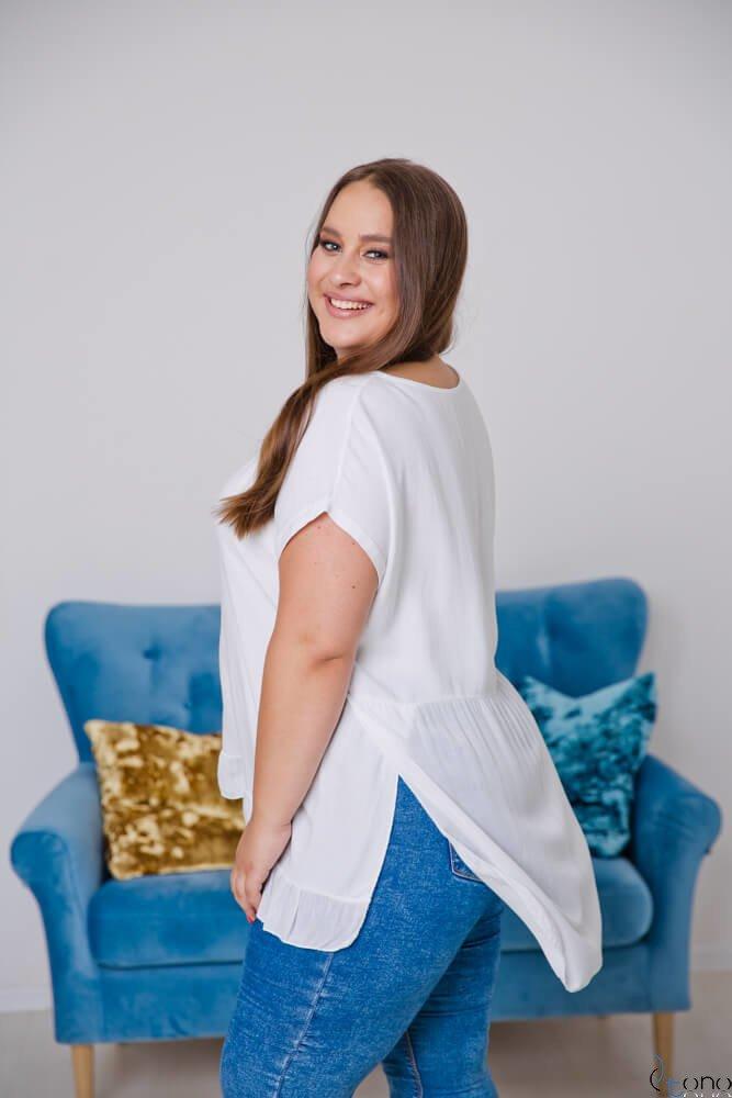 Biała Bluzka OLTERIA Plus Size