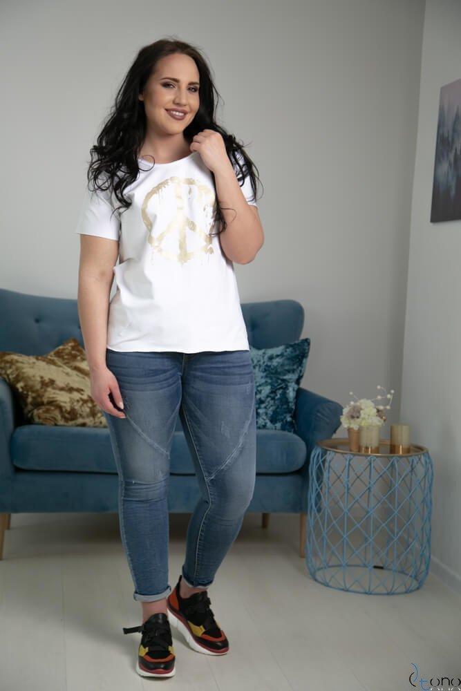 Biała Bluzka PEACE Plus Size
