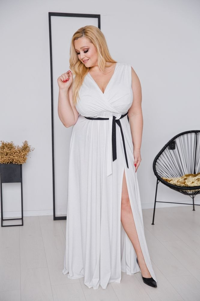 Biała Sukienka VOYAGE Plus Size