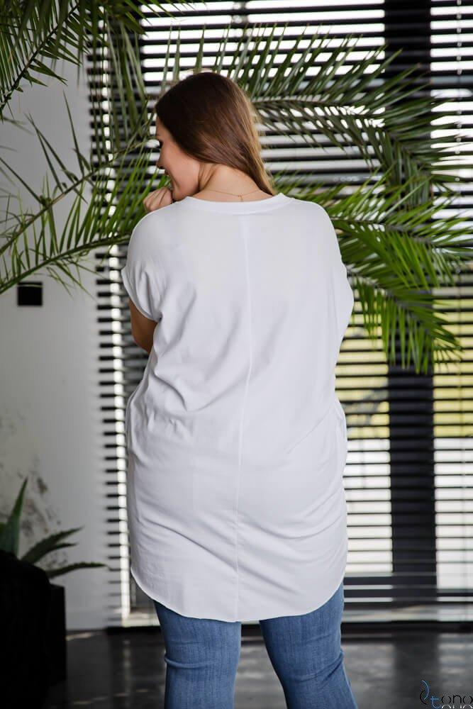 Biała Tunika LUIZE Plus Size Wzór 1