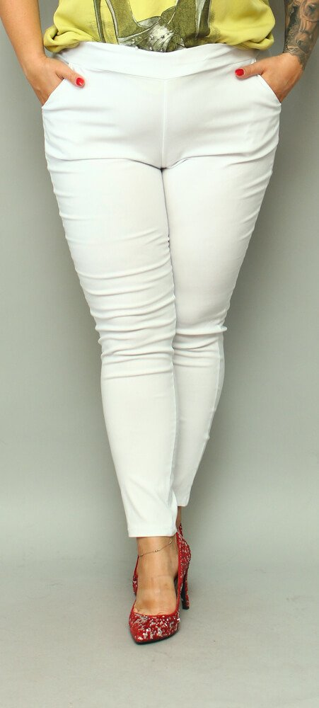 Białe Spodnie damskie AZURO Plus Size