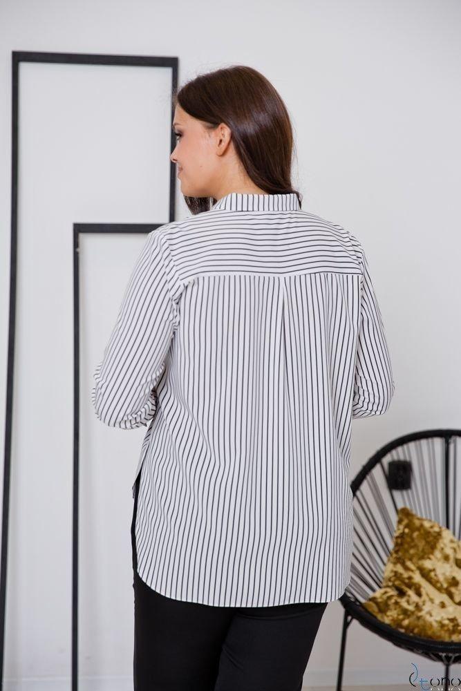 Biało-czarna Koszula ARTESIA Plus Size