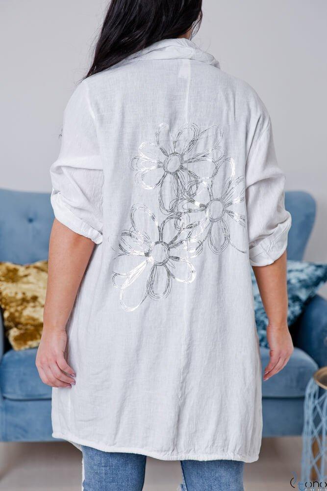 Biały Kardigan EROLA Plus Size