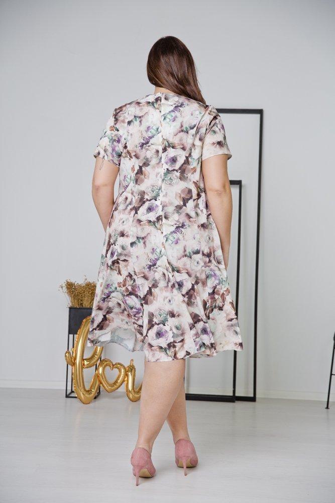 Brązowa Sukienka LILA Plus Size Wzór 2