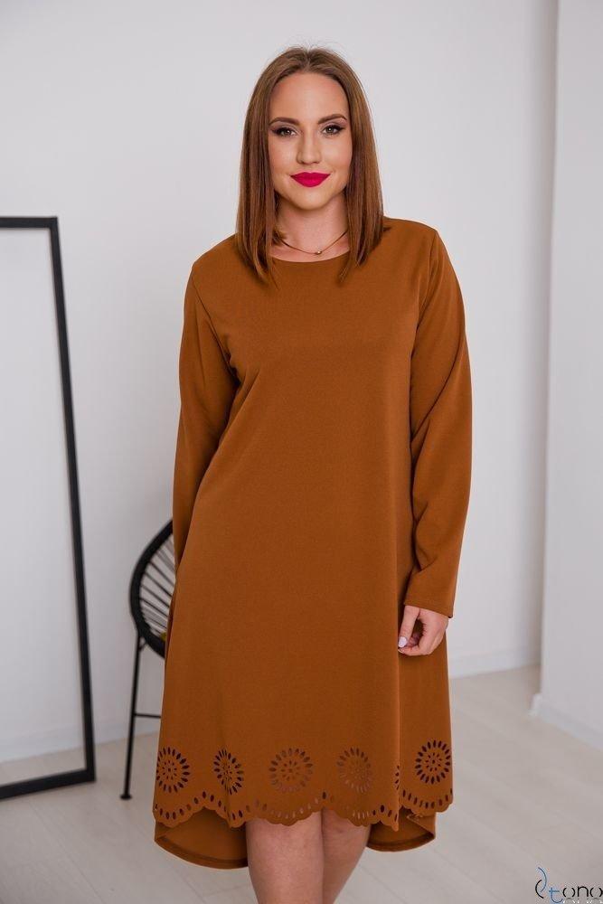 Camelowa Sukienka FANTRINA Plus Size