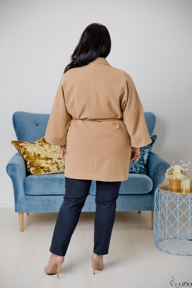 Camelowy Płaszcz JAYMY Plus Size