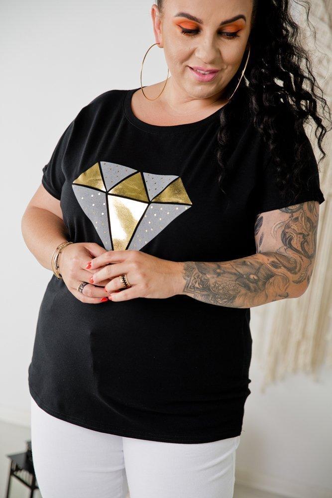 Czarna Bluzka DIAMOND Plus Size