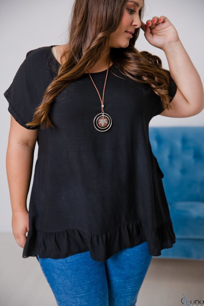 Czarna Bluzka OLTERIA Plus Size