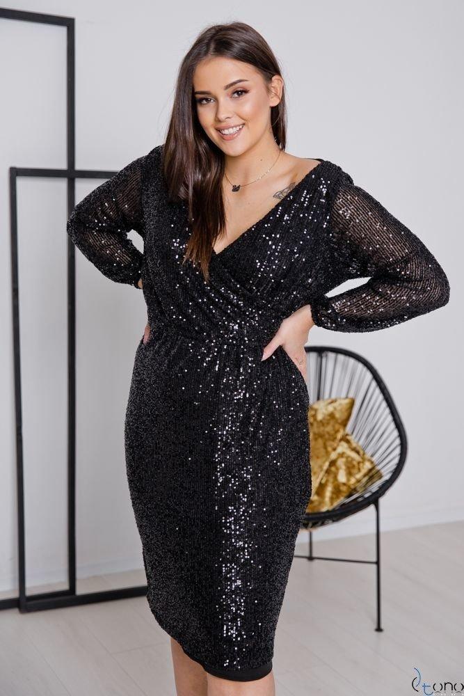 Czarna Sukienka FUERA Plus Size
