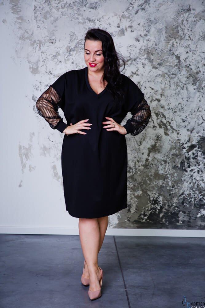 Czarna Sukienka LEFLER Plus Size