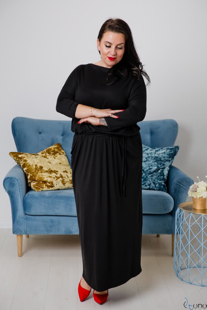 Czarna Sukienka MEFFI Plus Size Maxi