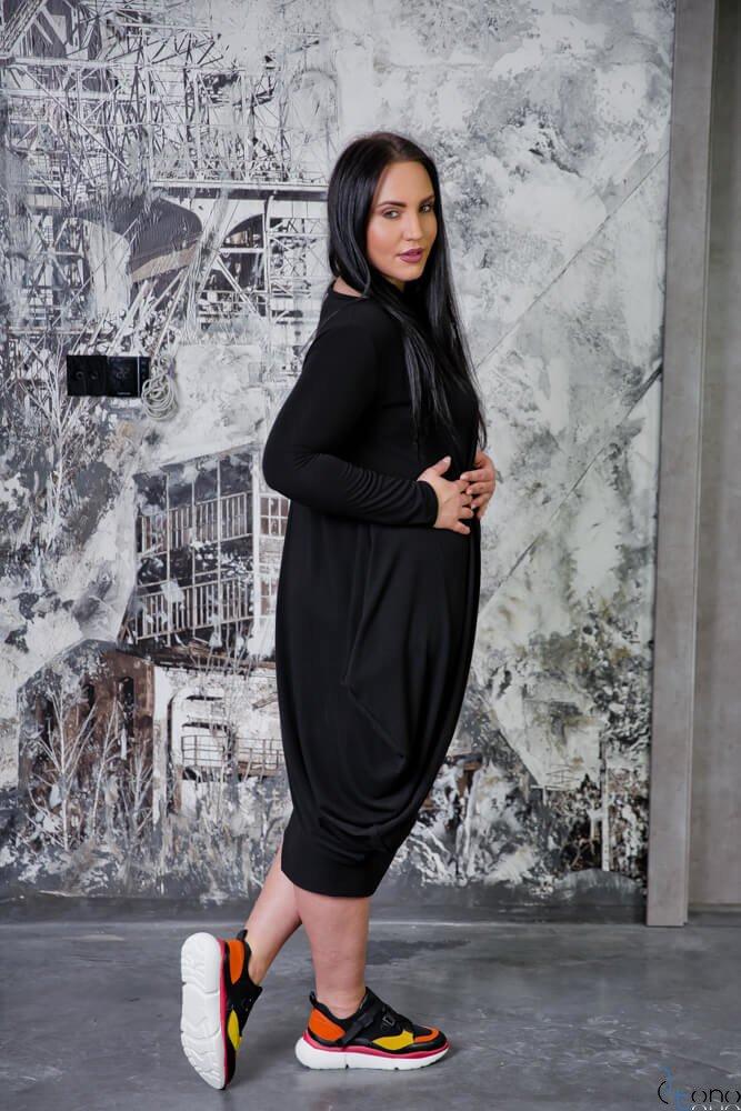 Czarna Sukienka MERIVA Plus Size Casual
