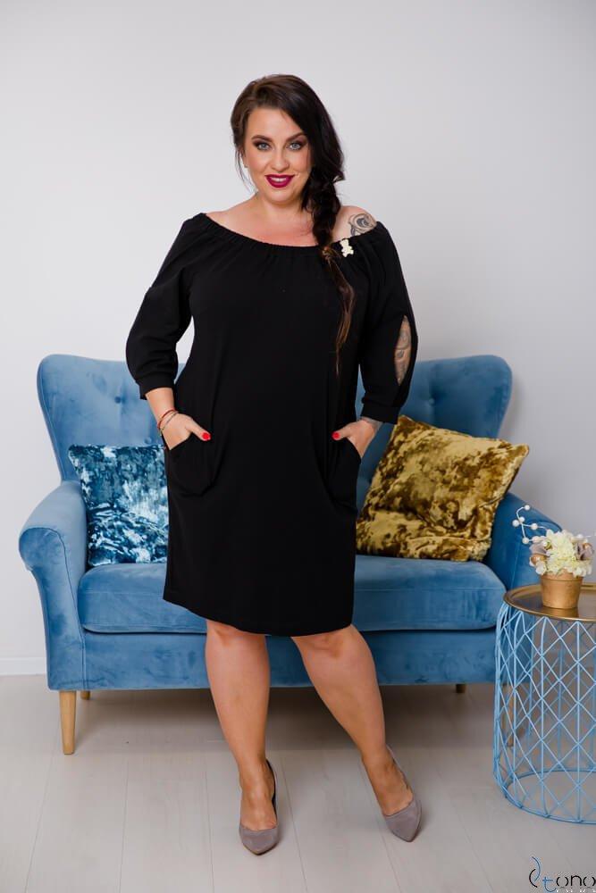 Czarna Sukienka ORTENA Plus Size