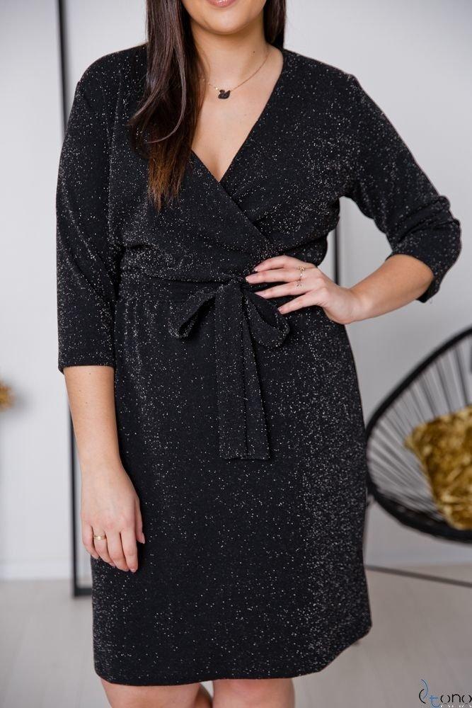 Czarna Sukienka RESSA Plus Size