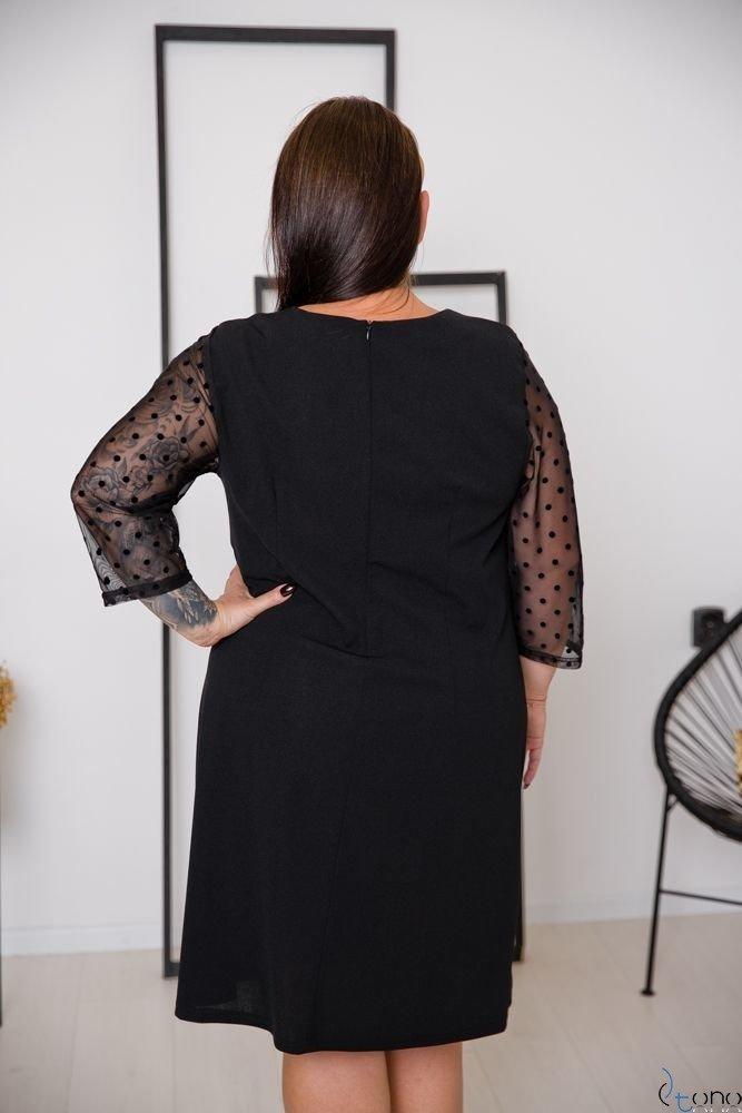 Czarna Sukienka SACRIMA Plus Size Wzór 2