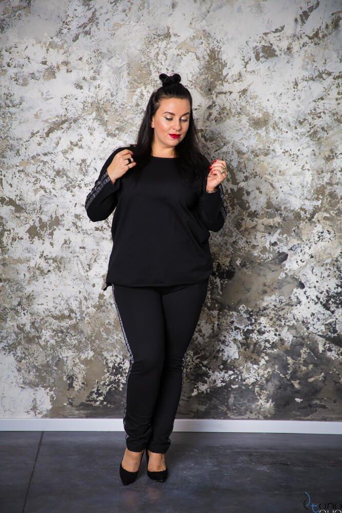 Czarne Spodnie HEPIN Plus Size