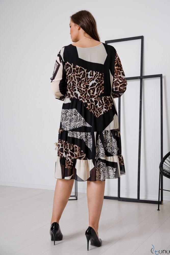Czarno-Brązowa Sukienka MORENNA Plus Size