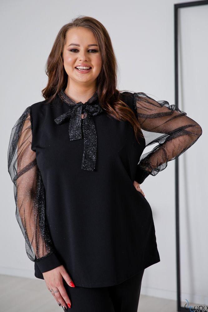 Czarno-Srebrna Bluzka NECKEL Plus Size