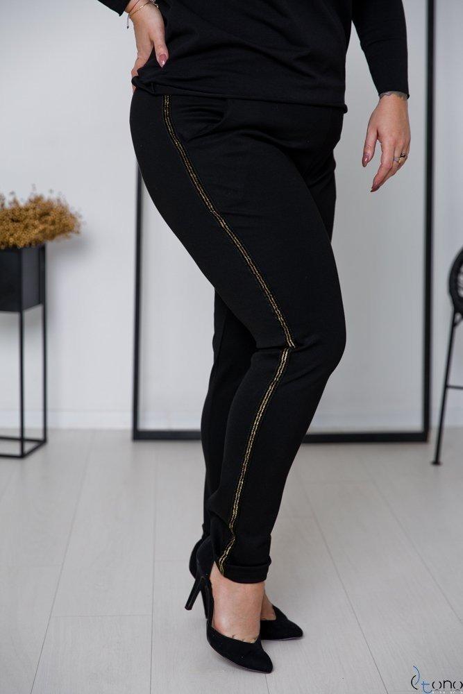 Czarno-Złote Spodnie LAVICCA Plus Size