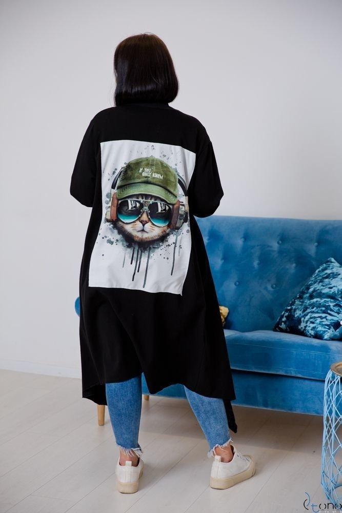 Czarny Kardigan IDIOMA Plus Size Wzór 1