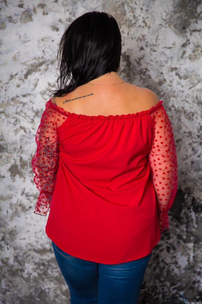 Czerwona Bluzka CARINA Plus Size