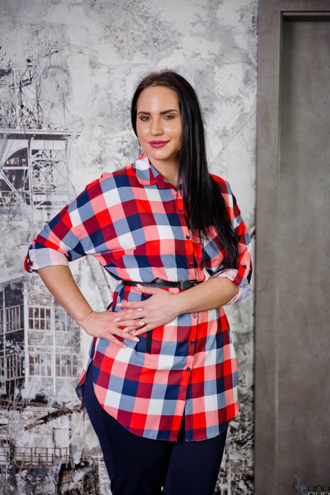 Czerwona Koszula CAMIZA Plus Size Kratka