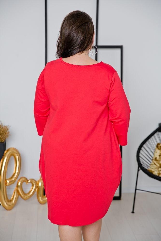 Czerwona Sukienka CALAMA Plus Size