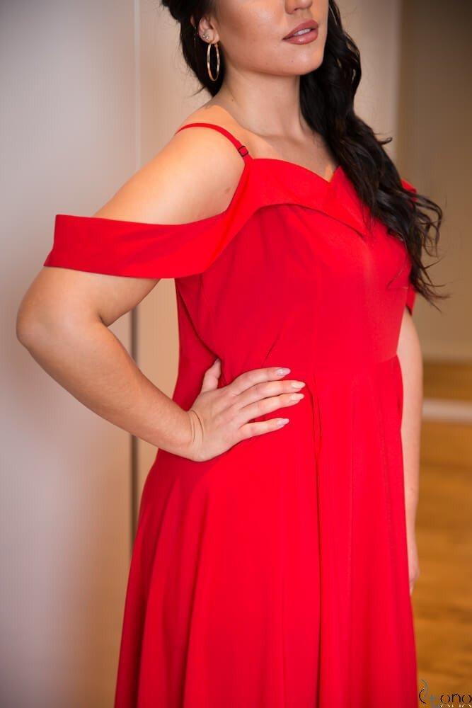 Czerwona Sukienka CLIVER Plus Size