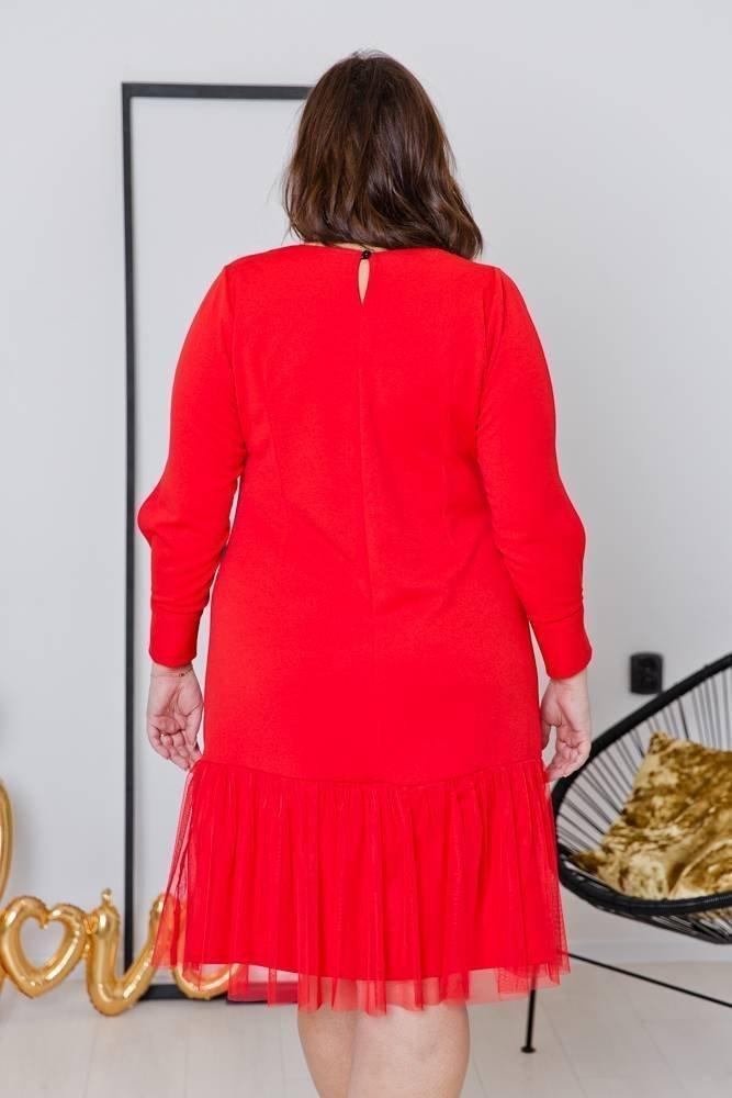 Czerwona Sukienka DOTIA Plus Size
