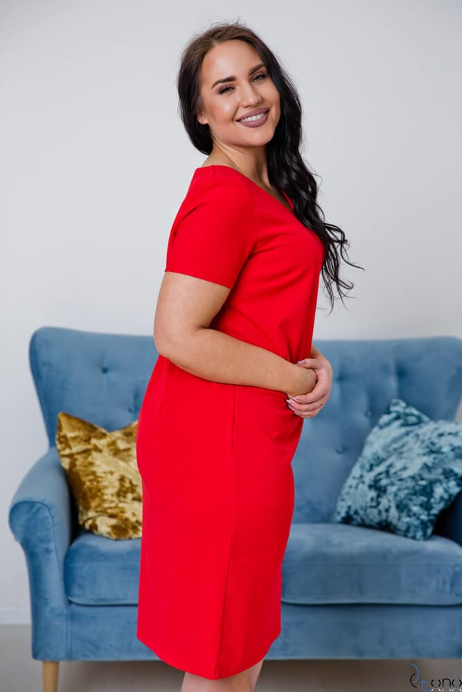 Czerwona Sukienka MELIA Plus Size