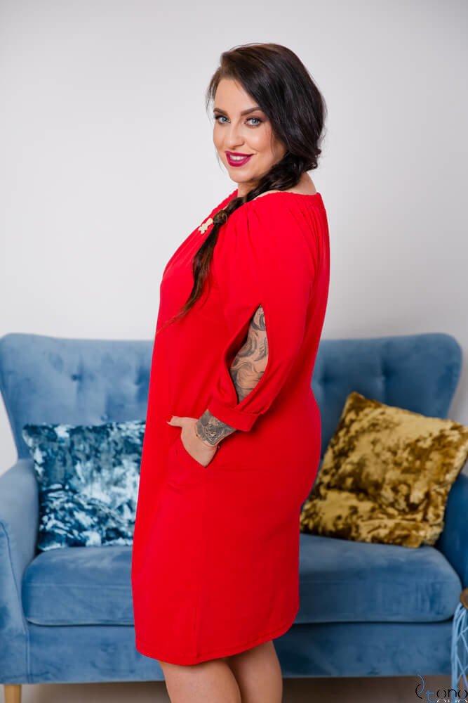 Czerwona Sukienka ORTENA Plus Size