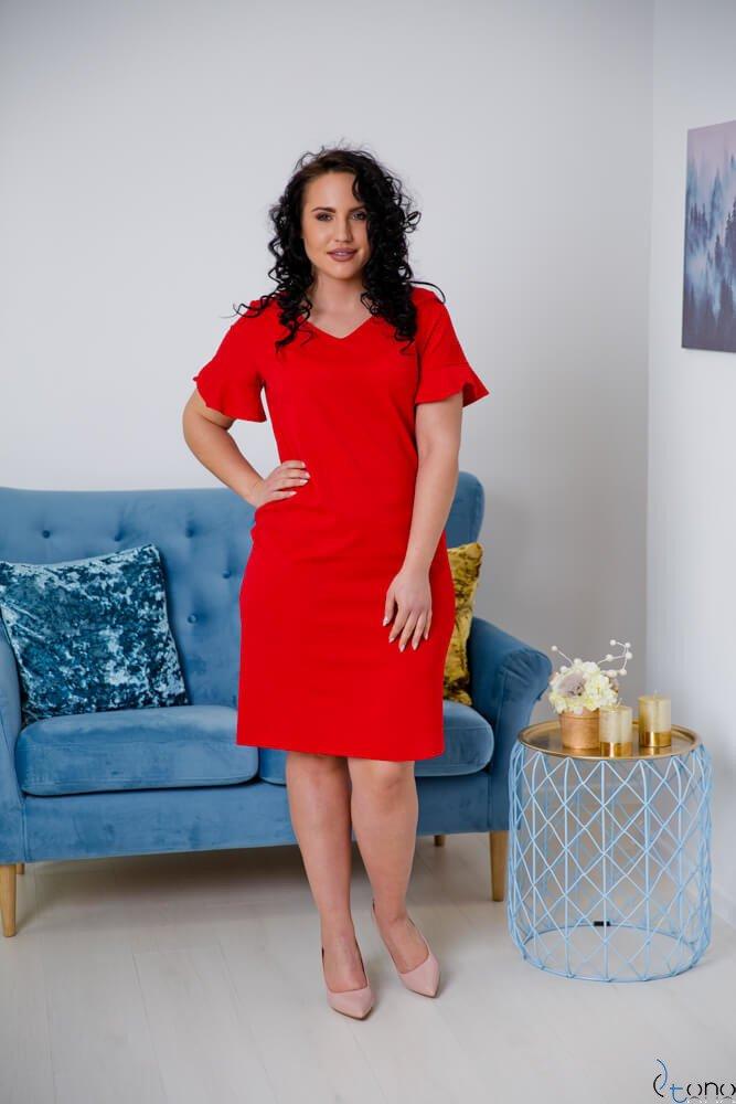Czerwona Sukienka VELMA Plus Size